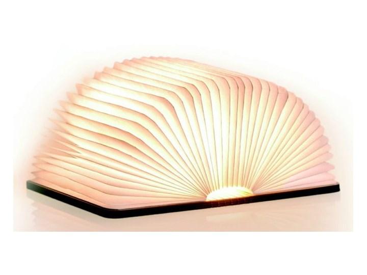 Ciemnobrązowa lampka stołowa LED z drewna orzechowego w kształcie książki Gingko Booklight Lampa dekoracyjna Kolor Brązowy
