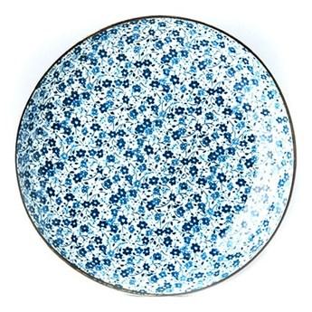 Niebiesko-biały talerz ceramiczny MIJ Daisy, ø 23 cm