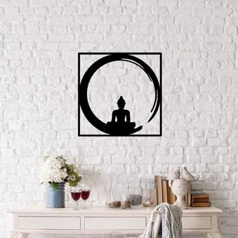 Czarna metalowa dekoracja ścienna Buddha, 50x50 cm