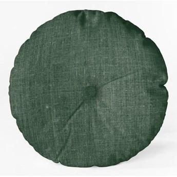 Ciemnozielona poduszka Linen Couture Cojin Redondo Dark Green, ⌀ 45 cm