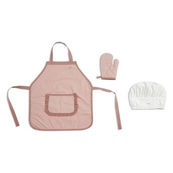 Różowy fartuszek kuchenny z rękawicą i białą czapką Flexa Play Chef´s Costume