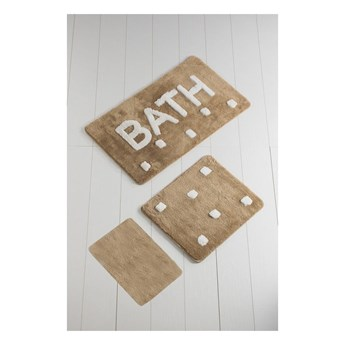 Komplet 3 brązowych dywaników łazienkowych Bath