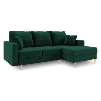 Zielona sofa rozkładana ze schowkiem Mazzini Sofas Muguet, prawostronna