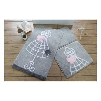 Zestaw trzech szarych dywaników łazienkowych z motywem sukienki Knit Knot