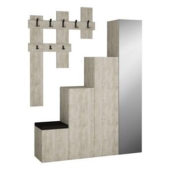 Komplet szafy i wieszaka ściennego w kolorze białej patyny Homitis Up