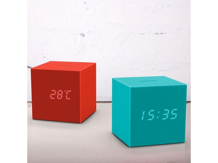 Turkusowy budzik LED Gingko Gravitry Cube Kwadratowy Tworzywo sztuczne Plastik Zegar stołowy Pomieszczenie Pokój nastolatka