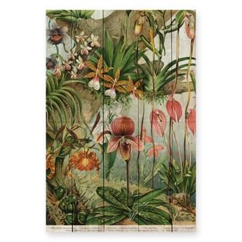 Dekoracja ścienna z drewna sosnowego Madre Selva Jungle Flowers, 60x40 cm