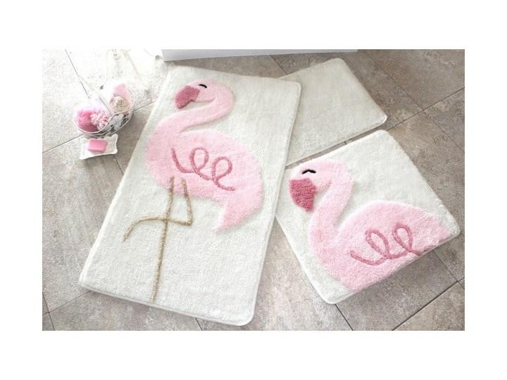 Zestaw 3 dywaników łazienkowych Pink Flamingo 60x100 cm Prostokątny Kolor Różowy