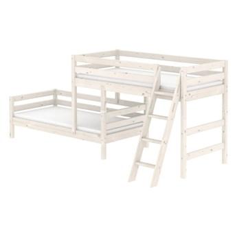 Białe dziecięce łóżko piętrowe z drewna sosnowego z drabinką Flexa Classic