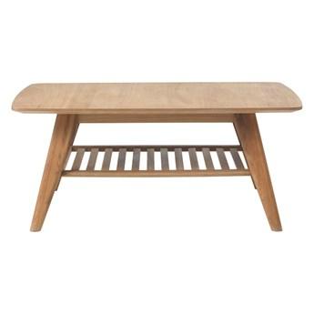 Stolik z półką z litego drewna dębowego Unique Furniture Rho, 110x70 cm