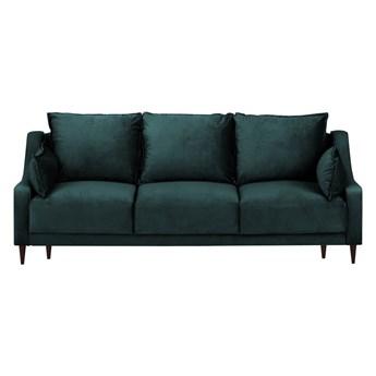 Niebieskozielona aksamitna rozkładana sofa ze schowkiem Mazzini Sofas Freesia, 215 cm