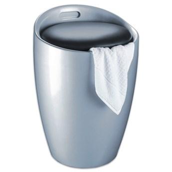 Kosz na pranie i taboret w jednym w srebrnym kolorze Wenko Candy, 20 l