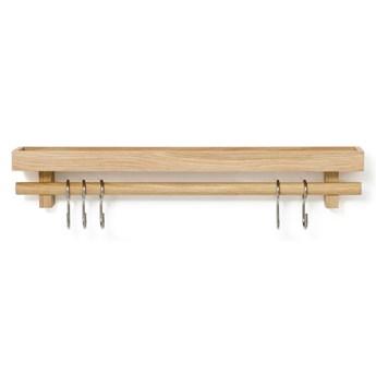 Półka z wieszakiem na przybory kuchenne z drewna dębowego Wireworks