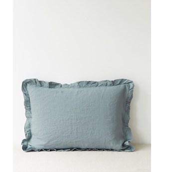 Jasnoniebieska lniana poszewka na poduszkę z falbanką Linen Tales, 50x60 cm