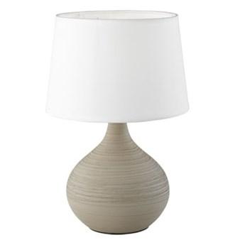 Biało-brązowa lampa stołowa z ceramiki i tkaniny Trio Martin, wys. 29 cm