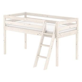 Białe łóżko średniej wielkości dziecięce z drewna sosnowego z drabinką Flexa Classic, 90x200 cm