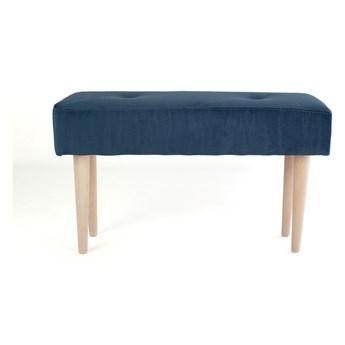 Ławka z drewna bukowego z niebieskim aksamitnym obiciem Surdic