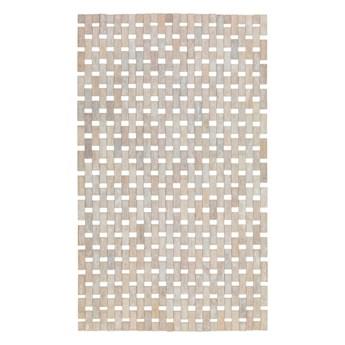 Kremowo-biała bambusowa mata prysznicowa Wenko Edna, 50x80 cm