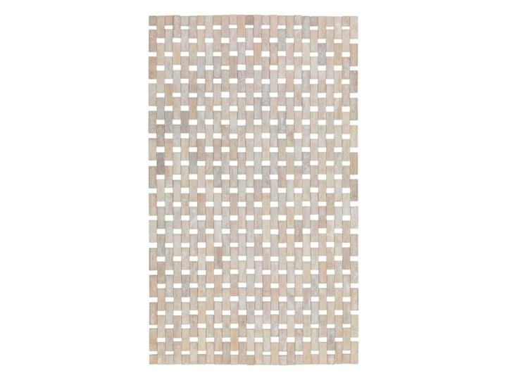 Kremowo-biała bambusowa mata prysznicowa Wenko Edna, 50x80 cm Kolor Beżowy Prostokątny Kolor Biały