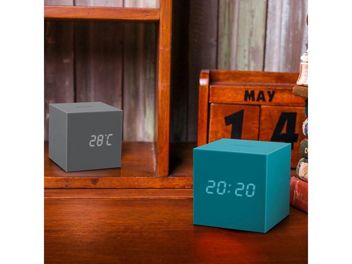 Turkusowy budzik LED Gingko Gravitry Cube Kategoria Zegary Kwadratowy Plastik Tworzywo sztuczne Zegar stołowy Pomieszczenie Pokój nastolatka