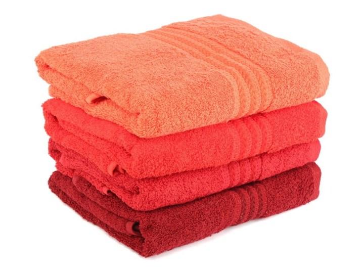 Zestaw 4 czerwonych ręczników bawełnianych Rainbow, 50x90 cm Komplet ręczników Kategoria Ręczniki Ręcznik kąpielowy Łazienkowe Frotte Bawełna Kolor Pomarańczowy