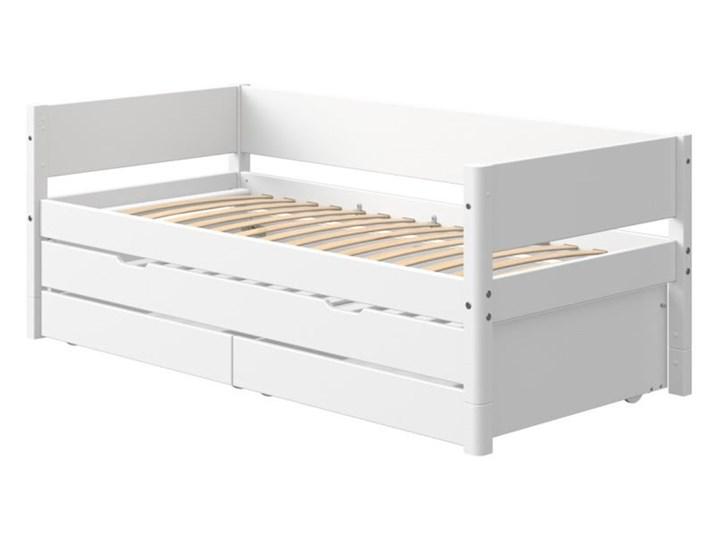 Białe dziecięce łóżko z dodatkowym wysuwanym łóżkiem i szufladą Flexa White Drewno Tradycyjne Płyta MDF Rozmiar materaca 90x200 cm