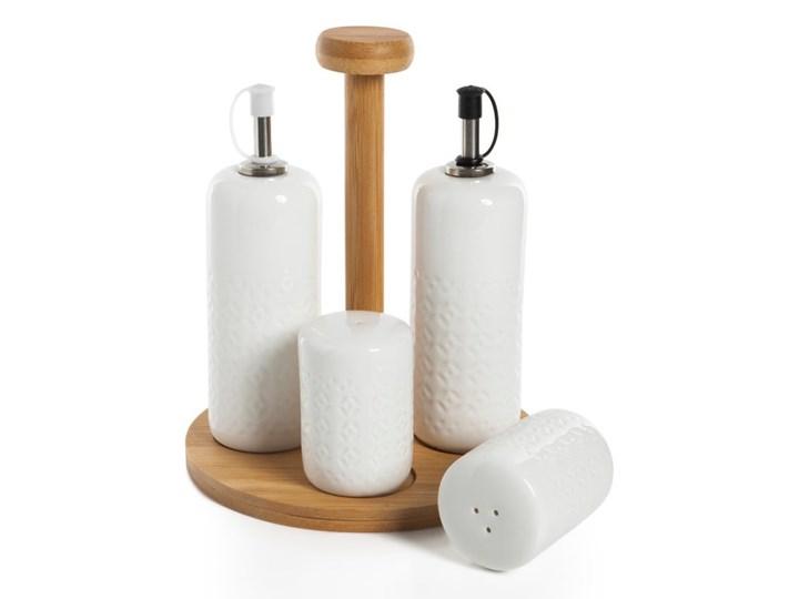 Komplet 2 butelek na olej, solniczki i pieprzniczki w stojaku Bambum Champion