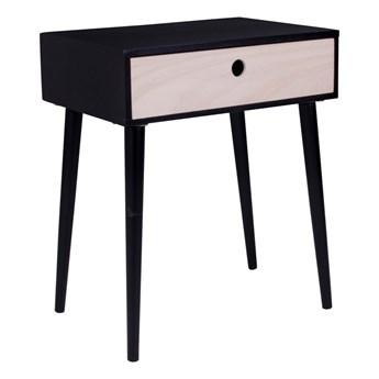 Czarna szafka nocna z drewna z szufladą House Nordic Parma