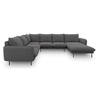 Ciemnoszara sofa w kształcie litery U Cosmopolitan Design Vienna, lewostronna