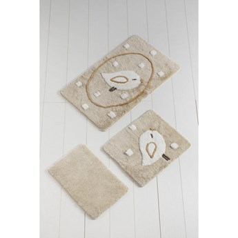 Komplet 3 beżowych dywaników łazienkowych Birdie
