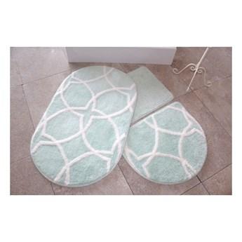 Zestaw 3 miętowych dywaników łazienkowych