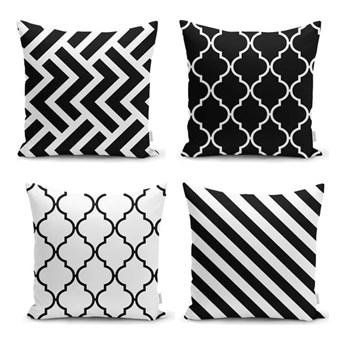 Zestaw 4 poszewek na poduszkę Minimalist Cushion Covers BW Graphic Patterns, 45x45 cm