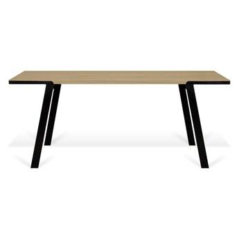 Stół z blatem z dębu i czarnymi nóżkami TemaHome Drift, 180 x 90 cm