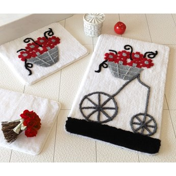 Zestaw trzech dywaników łazienkowych z motywem kwietnika w szarym, czarnym i czerwonym kolorze Knit Knot