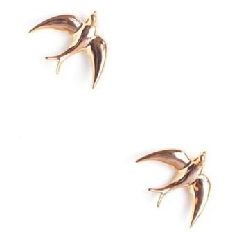 Zestaw 2 ręcznie wykonanych ściennych ptaszków porcelanowych Velvet Atelier Golondrinas Doradas