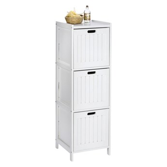 Biała drewniana szafka łazienkowa z 3 szufladami Wenko Oslo