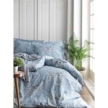 Pościel i prześcieradło dwuosobowe z bawełny ranforce Chicory Blue, 200x220 cm
