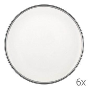 Zestaw 6 białych porcelanowych talerzy deserowych Mia Halos Silver, ⌀ 19 cm