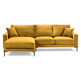 Żółty aksamitny narożnik Kooko Home Harmony, lewostronny