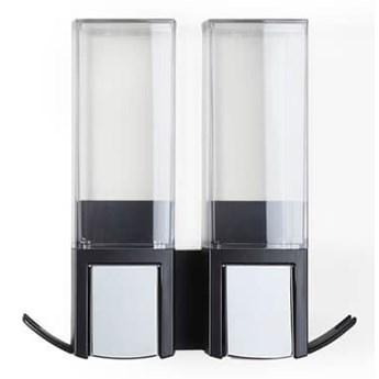 Czarny samoprzylepny podwójny dozownik do mydła Compactor Clevek Double Dispenser