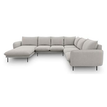 Jasnoszara sofa w kształcie litery U Cosmopolitan Design Vienna, prawostronna