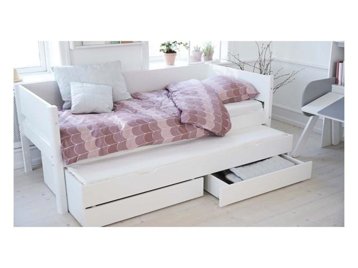 Białe dziecięce łóżko z dodatkowym wysuwanym łóżkiem i szufladą Flexa White Tradycyjne Rozmiar materaca 90x200 cm Drewno Płyta MDF Kolor Biały