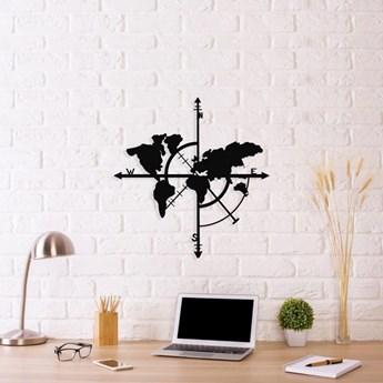 Czarna metalowa dekoracja ścienna Compass World Map, 48x50 cm