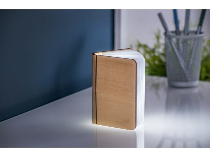 Jasnobrązowa lampka stołowa LED z drewna klonowego w kształcie księgi Gingko Booklight Lampa LED Kolor Brązowy