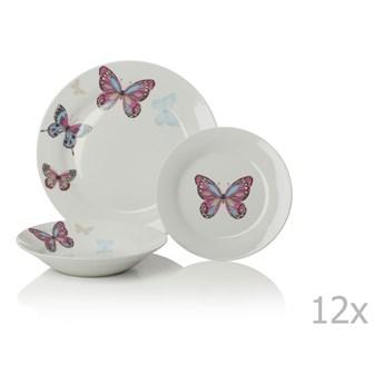 12-częściowy komplet naczyń porcelanowych Sabichi Mariposa