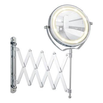 Chromowane lusterko kosmetyczne z LED Wenko Brolo