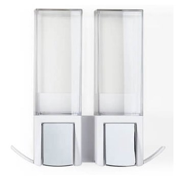 Biały samoprzylepny podwójny dozownik do mydła Compactor Clevek Double Dispenser
