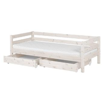 Białe łóżko dziecięce z drewna sosnowego z 2 szufladami Flexa Classic, 90x200 cm