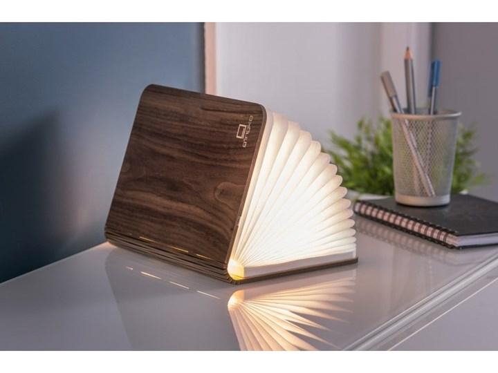 Ciemnobrązowa lampka stołowa LED z drewna orzechowego w kształcie książki Gingko Booklight Lampa dekoracyjna Kolor Brązowy Kolor Beżowy