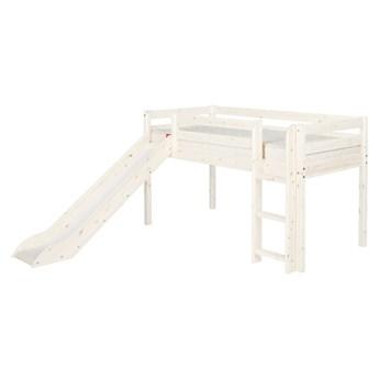 Białe łóżko średniej wielkości dziecięce z drewna sosnowego ze ślizgawką Flexa Classic, 90x200 cm
